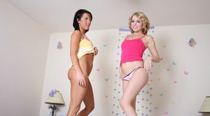 Hot teens with sexy legs Lexi Belle and Deena Daniels getting naked