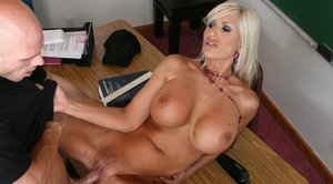 MILF teacher with big hooters Puma Swede gets fucked in class