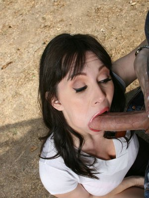 Sexy MILF with big boobs RayVeness sucking a massive cock in reality
