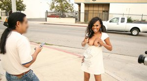 Ebony MILF with a big booty Lacey DuValle has hardcore sex in public