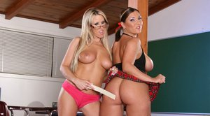 Naughty college babes Claire Dames and Carolyn Reese stripping together