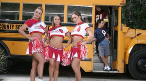 Three slutty cheerleaders showing asses upskirt and posing topless