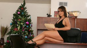 Puffy MILF with big tits Penny Flame strips nude in the office