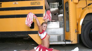 Three lustful cheerleader hotties strip and show their sexy butts