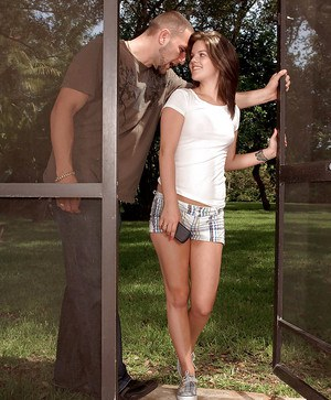 Lovesome teen with tiny tits Remi Lee fucked by a long cock outdoor