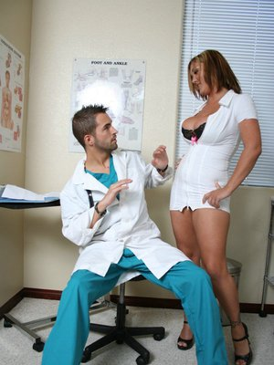 Sexy nurse Claire Dames denudes big hooters from her uniform and fucks