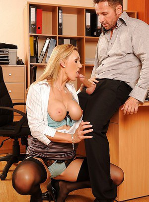 Busty MILF in glasses Tanya Tate seduced and fucked hard in her office