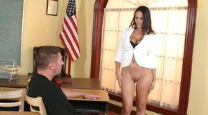 Busty teacher Carmella Bing fucked by a well hung stud on her table