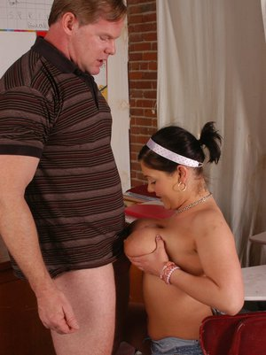 Fat school girl Claire Dames gives her teacher a titjob and fucks hard