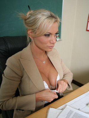 Hot MILF teacher Devon Michaels denudes boobs and rides a cock