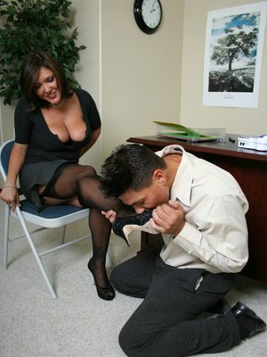 Busty office MILF Claire Dames got her pussy licked and stuffed