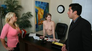 Busty MILFs Sunny Lane & Savanah Gold in a fervent office threesome