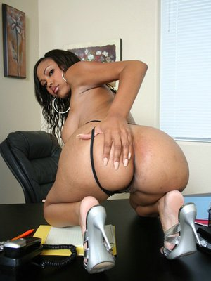Black hottie Lacey DuValle strips off her sexy dress on the office desk