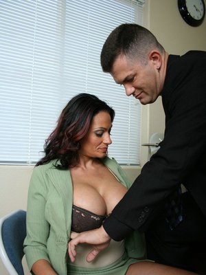 Big titted Latina MILF gets fucked by a big stiff cock in the office