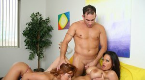 Latins MILFs Sienna West and Ava Lauren meet a guy with a huge dick