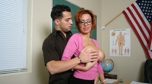 MILF teacher in glasses Sienna West feeling a big boner in her pussy
