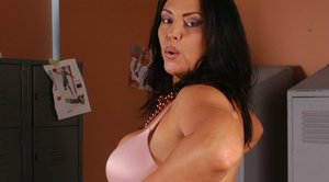 Sexy MILF Angelica Sin takes off her lingerie and shows her hot butt