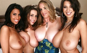 Glamorous babes with big tits pose for the camera in reality