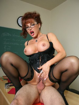 MILF teacher with big tits Sexy Vanessa in glasses shows hot sex