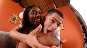 Big titted ebony MILF babe Delotta Brown fucking a huge boner