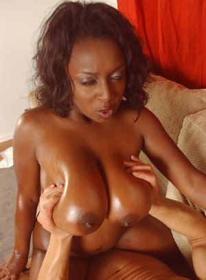 Sexy black MILF babe Ms. Panther with big tits fucking a stiff boner