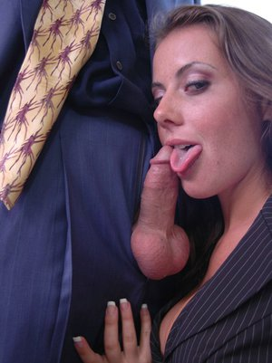 Penny Flame with huge hooters riding a massive cock in the office