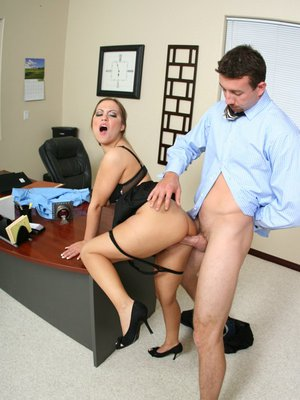 MILF babe Kaylee Lovecox gets banged from behind in the office
