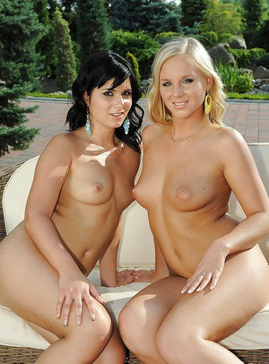 Lesbians Barbie White and Naomie lick and finger each other outdoor