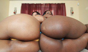 Busty MILF babes Brianna Blair and Mrs. Desire show their huge booties