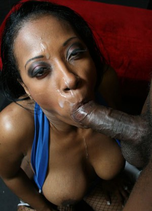 Ebony MILF with a big ass Cherokee rides a big cock in stockings