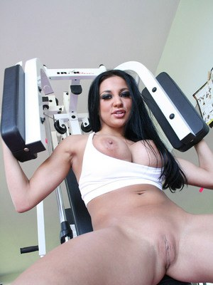 Sports babe with huge juggs Audrey Bitoni spreading her wet pussy