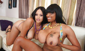 MILF lesbians Ebony and Carmen show their booties and big tits