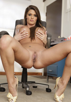 Office babe Madelyn Marie showing her big hooters and her cunt