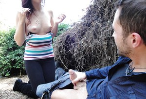 Teen babe Lexi Brooks gives a handjob outdoor and has hardcore sex