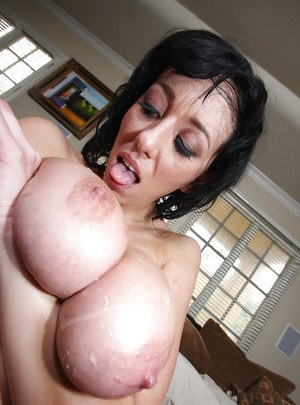 MILF babe with big tits Alia Janine getting banged in her shaved twat