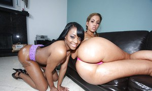 Ebony MILFs Isis and Eve pose on high heels to boast of their butts