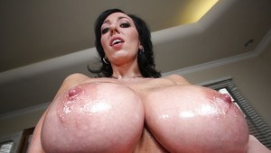MILF babe with huge boobs Alia Janine takes a bath naked