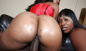Ebony MILF babes Royalty and Nikki having rough anal sex with creampie