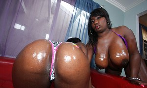Ebony MILFs Phylisha and Luxury showing their huge booties in lingerie