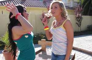 Teen cocksucker Ally Kay showing her tight pussy with girlfriends