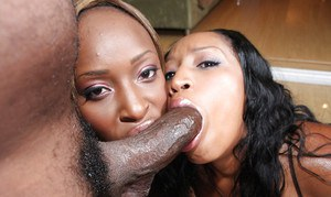 Ebony MILF cocksuckers Sky and Cali enjoying dirty groupsex