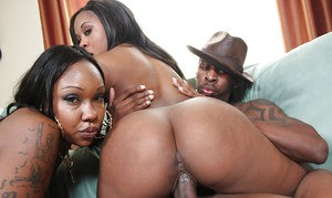 Black MILFs Candy and Eunique sucking a big cock and get ass fucked