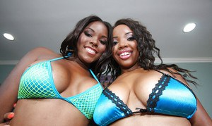 Black babes Stacey and Candice stripping panties to show booties