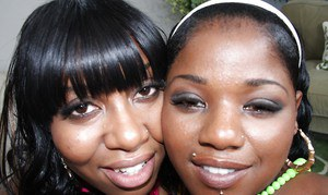 Ebony babes Ms. Bliss and Stacey Sweets ride a meaty dick in groupsex