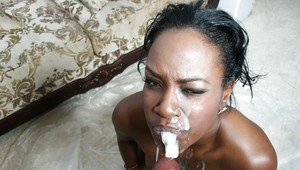 Ebony babe Tony Sweets fucking in groupsex with bukkake on her face