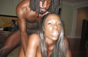 Ebony babe Justice with big tits has a hardcore orgy with a facial