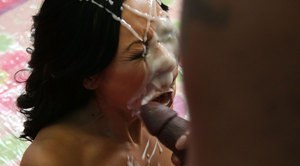 Asian MILF babe Tia Ling fucking a massive cock with bukkake