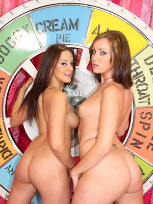 Sexy babes Poppy and Valerie with tiny tits posing naked together