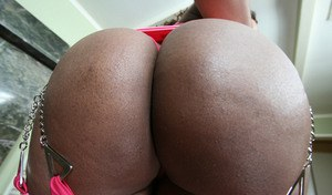 Ebony MILF babe Ayana Angel demonstrating her fatty body and a big ass