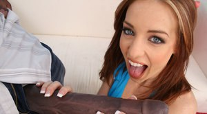Teen babe Riley Shy riding the biggest cock with bukkake